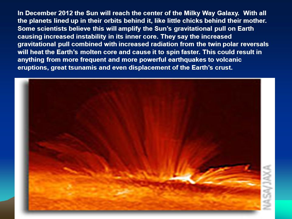 In December 2012 the Sun will reach the center of the Milky Way Galaxy