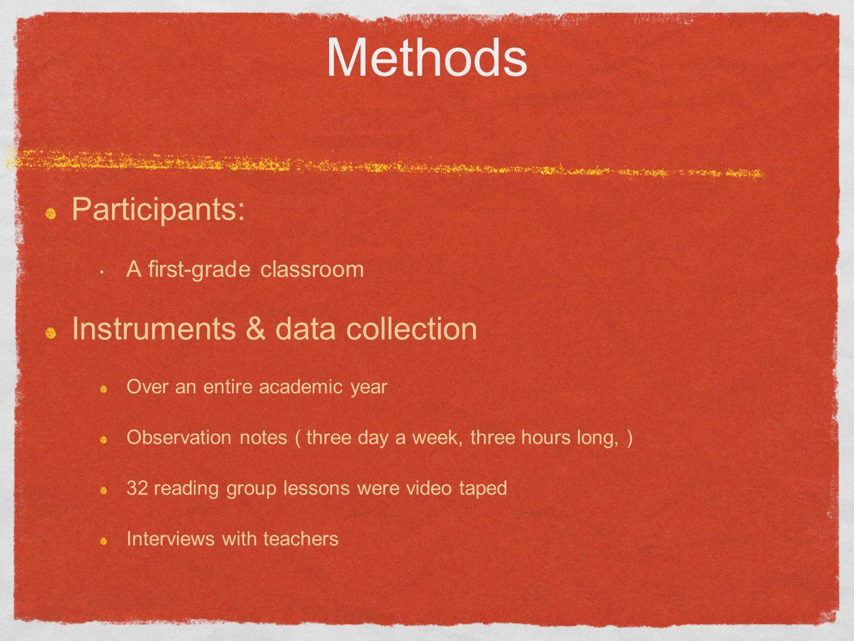 Methods Participants: Instruments & data collection