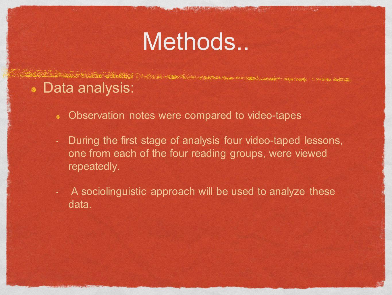 Methods.. Data analysis: