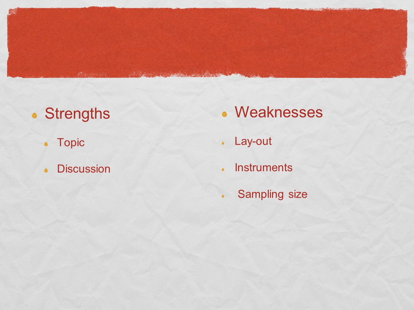 Strengths Weaknesses Topic Discussion Lay-out Instruments
