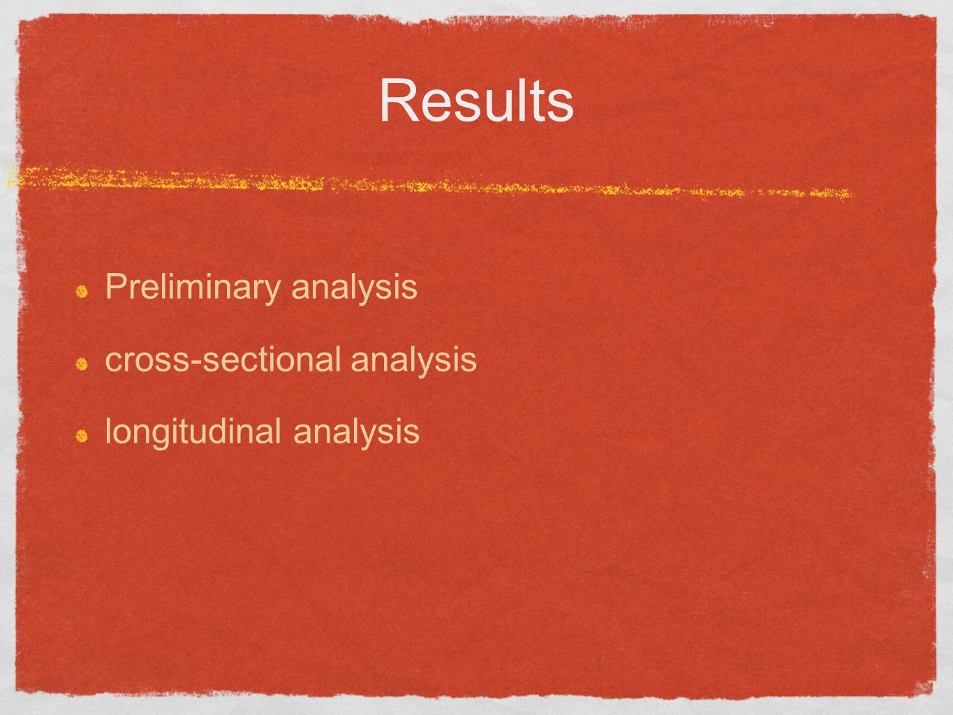 Results Preliminary analysis cross-sectional analysis