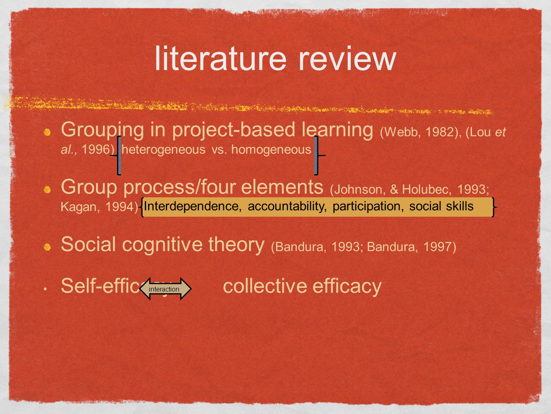 literature review Grouping in project-based learning (Webb, 1982), (Lou et al., 1996) heterogeneous vs. homogeneous.