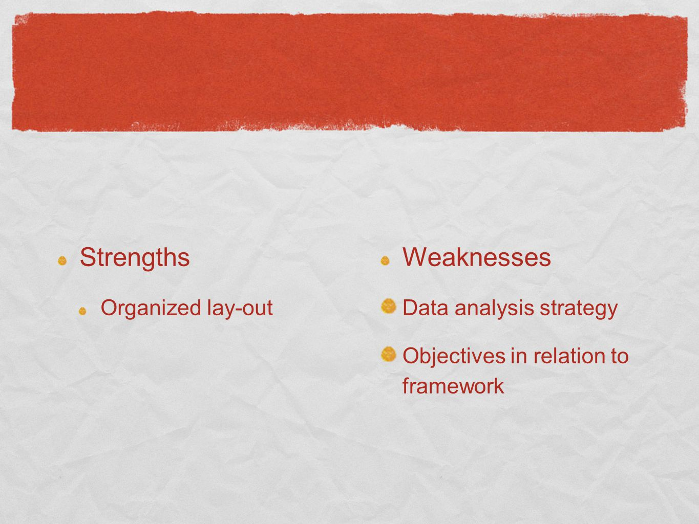 Strengths Weaknesses Organized lay-out Data analysis strategy