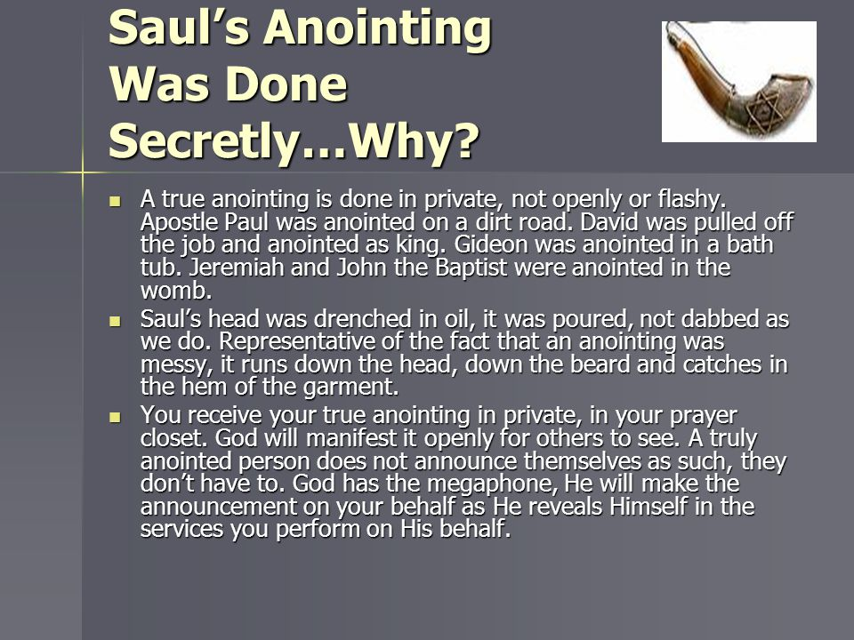 Saul's Anointing Was Done Secretly…Why