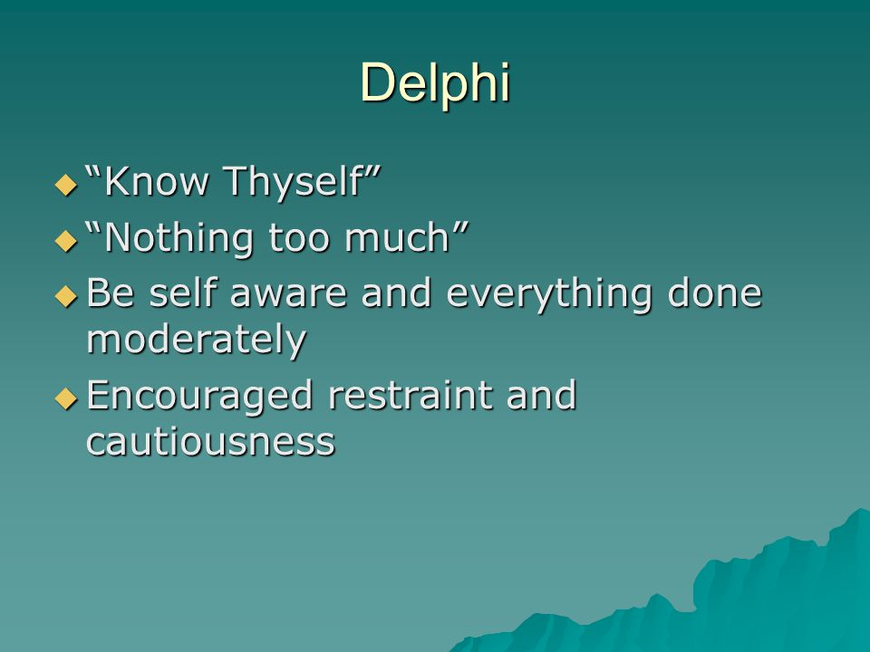 Delphi Know Thyself Nothing too much