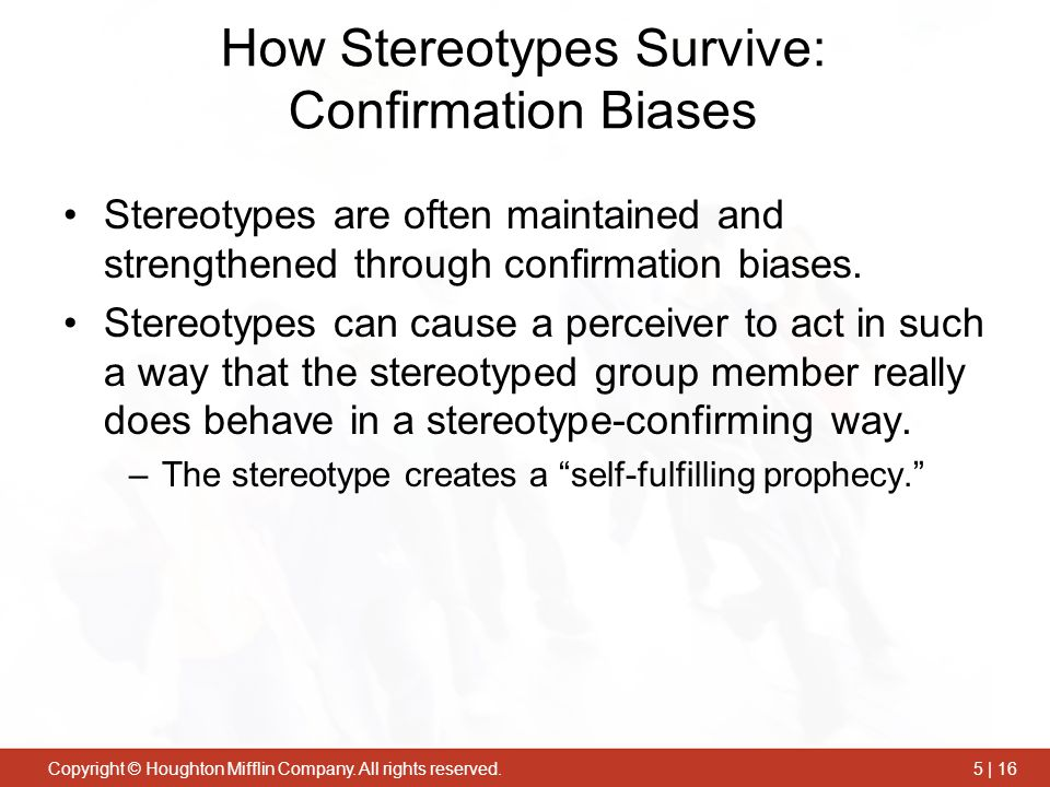 How Stereotypes Survive: Confirmation Biases