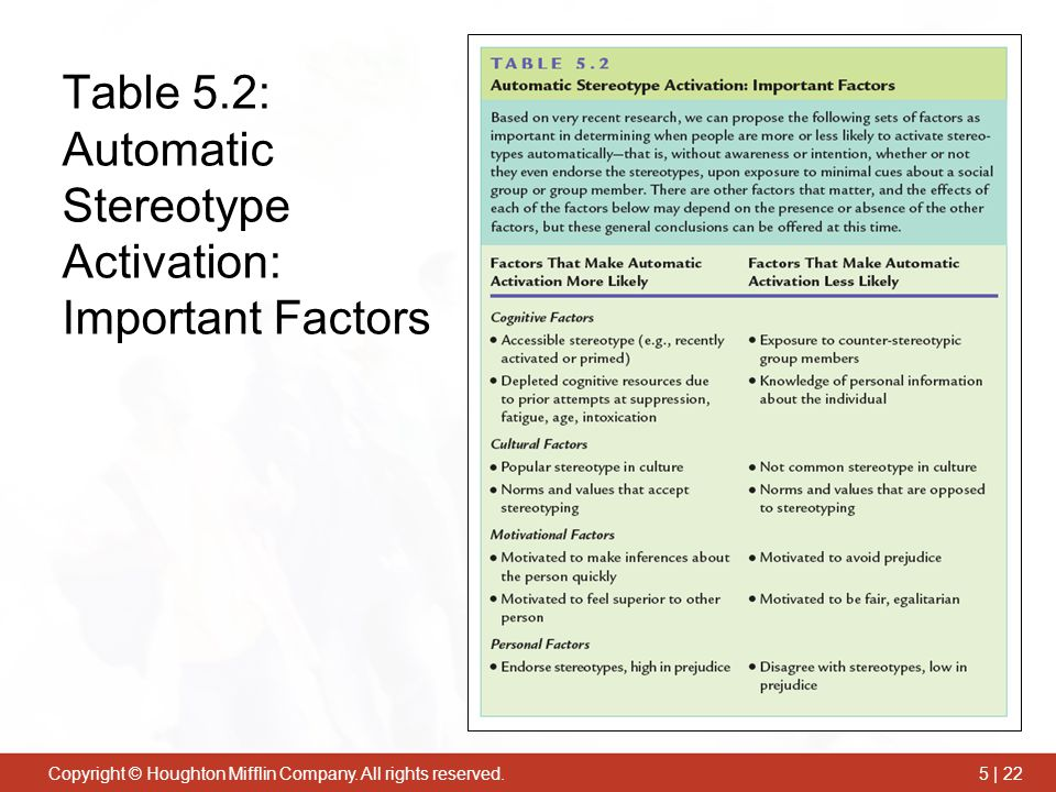 Table 5.2: Automatic Stereotype Activation: Important Factors
