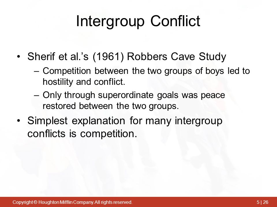 Intergroup Conflict Sherif et al.'s (1961) Robbers Cave Study