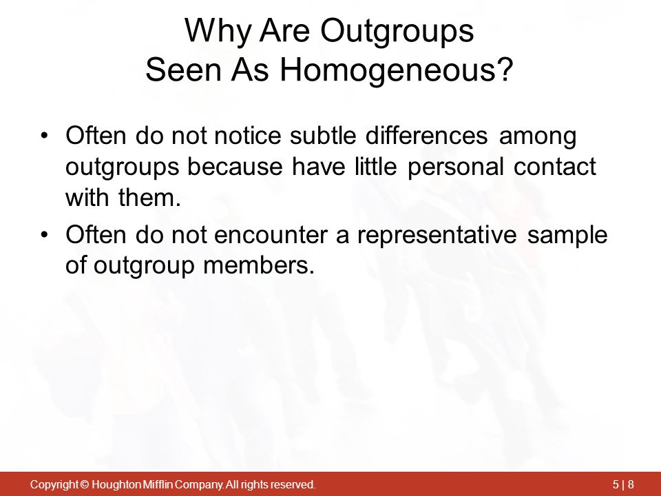 Why Are Outgroups Seen As Homogeneous
