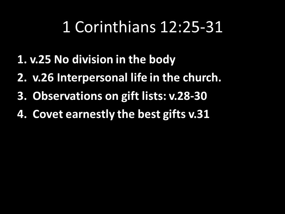 This Christmas Love 1 Corinthians 12 31: 1 Corinthians 12: V.25 No Division In The Body 2. V.26
