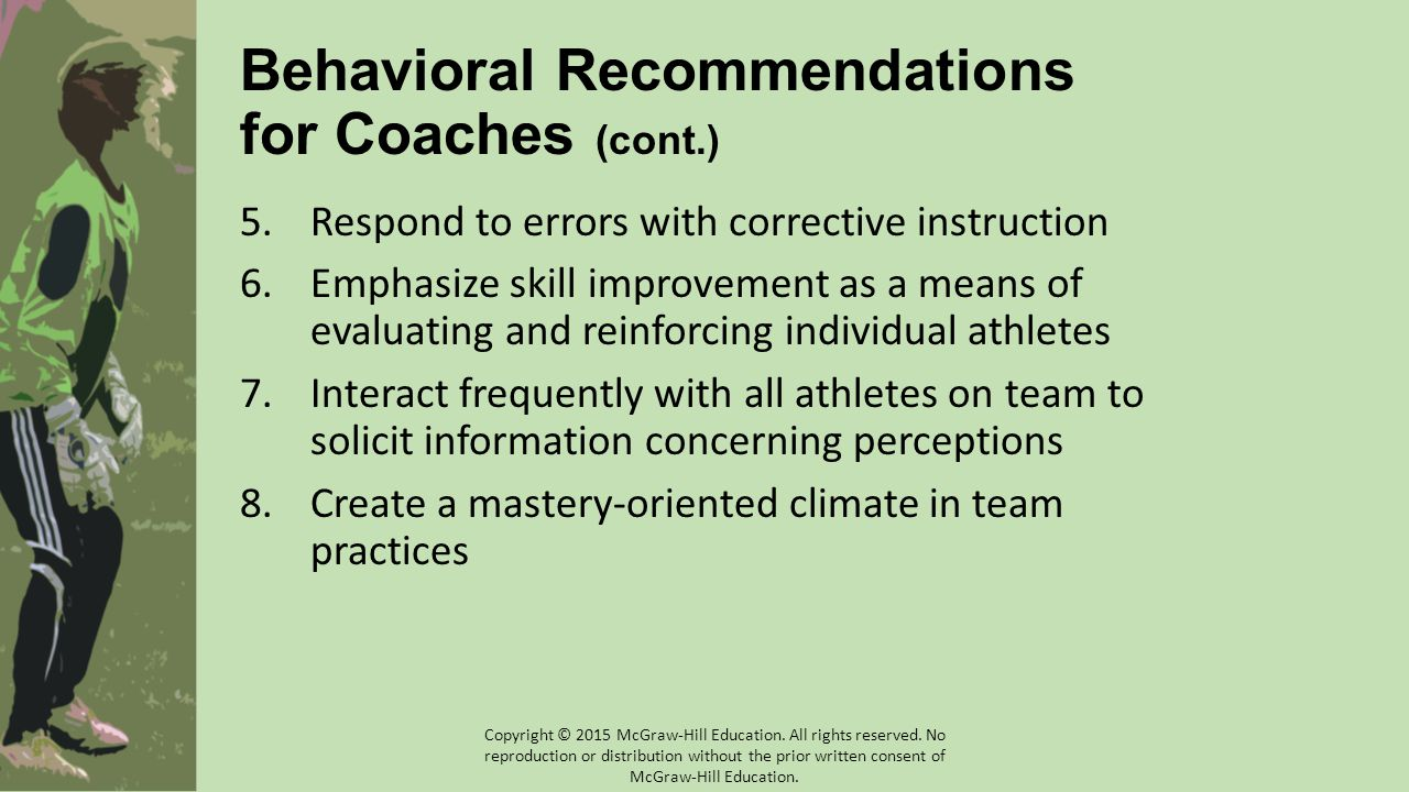 Behavioral Recommendations for Coaches (cont.)