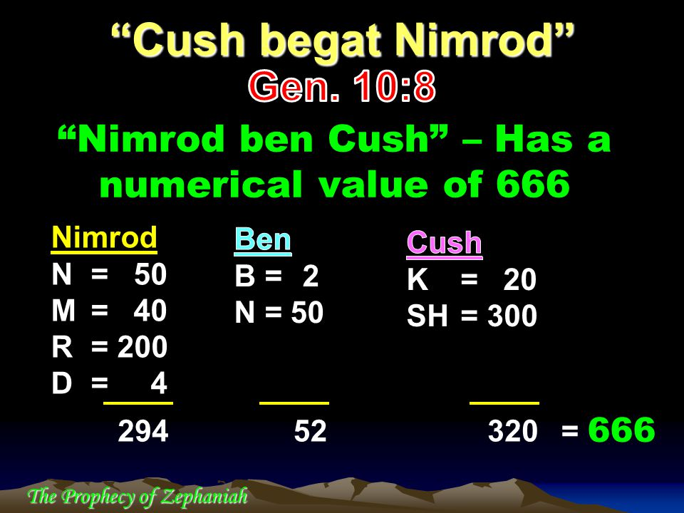 Nimrod ben Cush – Has a numerical value of 666
