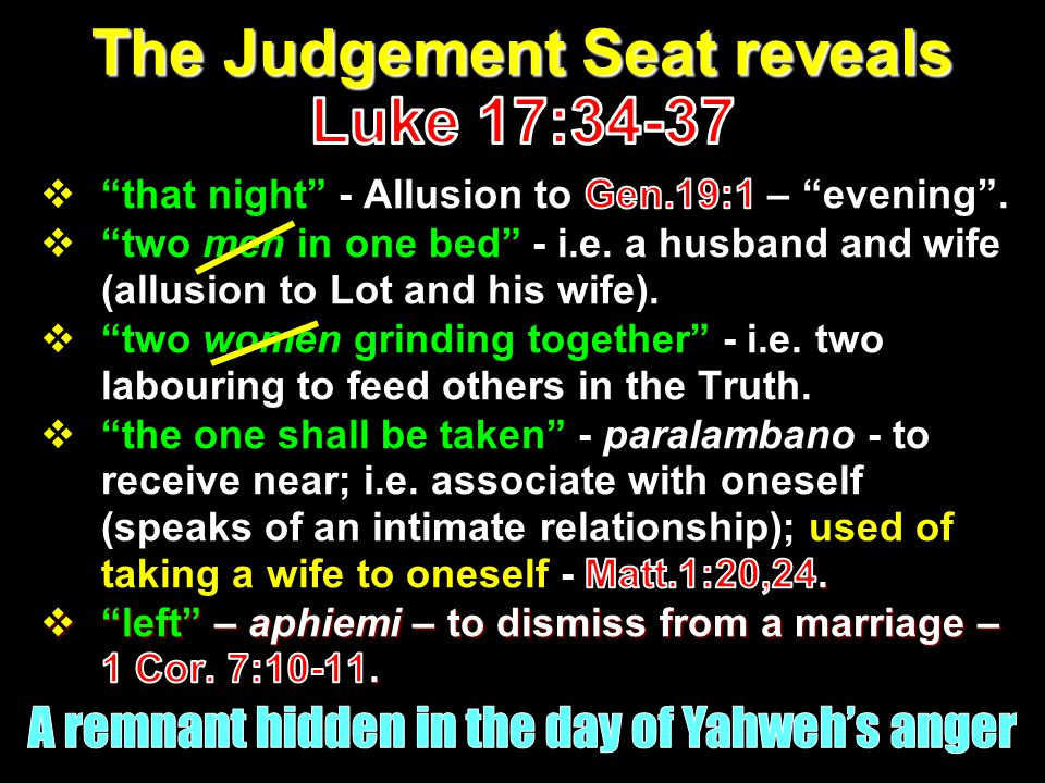 The Judgement Seat reveals Luke 17:34-37