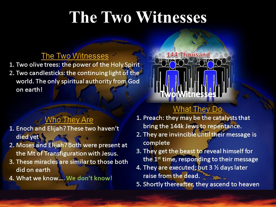 The Two Witnesses Two Witnesses The Two Witnesses What They Do
