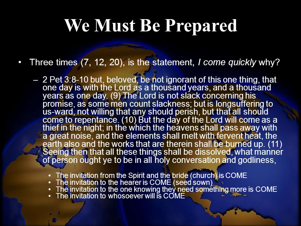 We Must Be Prepared Three times (7, 12, 20), is the statement, I come quickly why