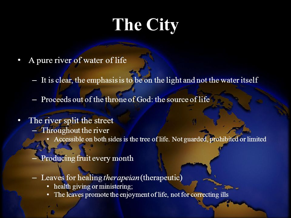 The City A pure river of water of life The river split the street