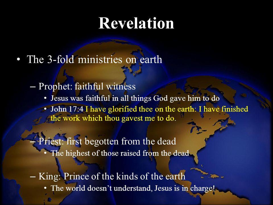 Revelation The 3-fold ministries on earth Prophet: faithful witness