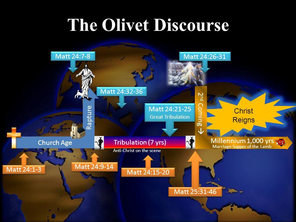 The Olivet Discourse Matt 24:7-8 Matt 24:26-31 2nd Coming 