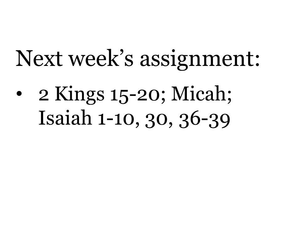 Next week's assignment: