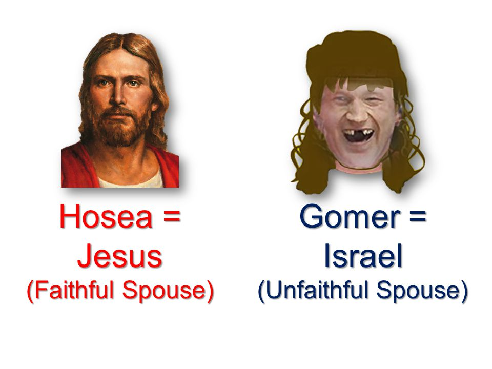 Hosea = Jesus (Faithful Spouse) Gomer = Israel (Unfaithful Spouse)