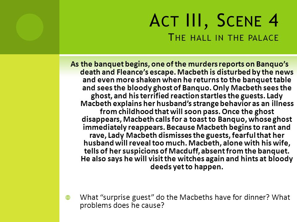 Act III, Scene 4 The hall in the palace