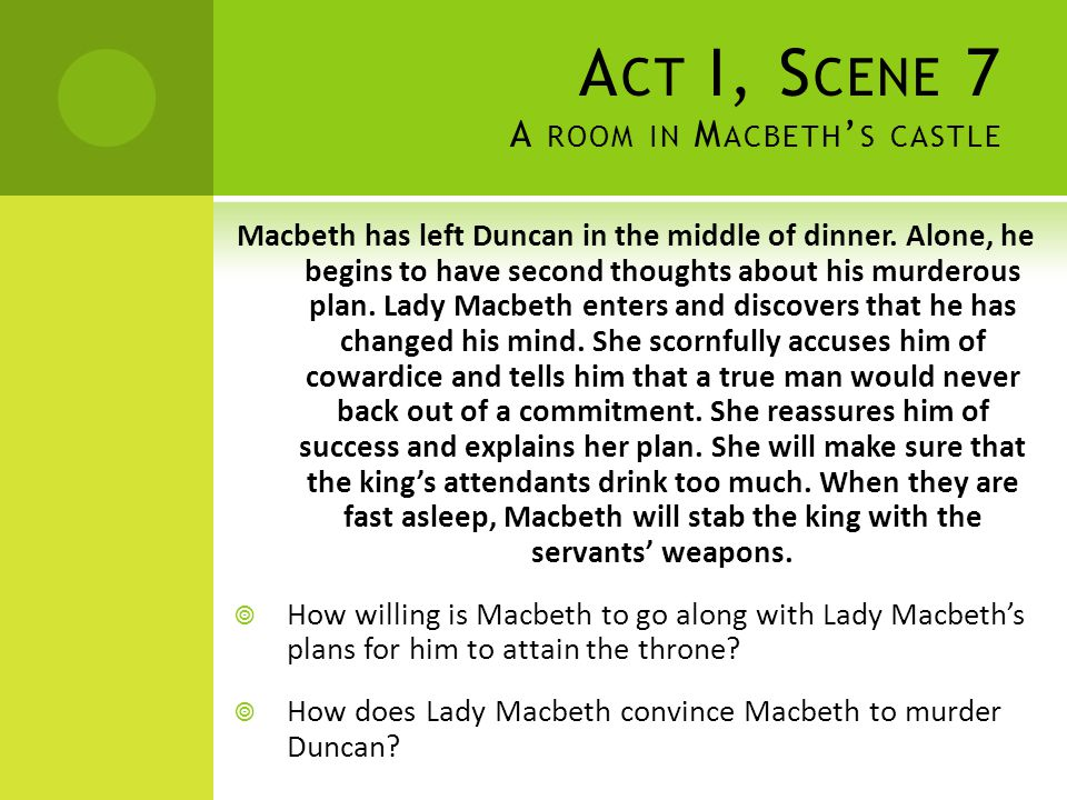Act I, Scene 7 A room in Macbeth's castle