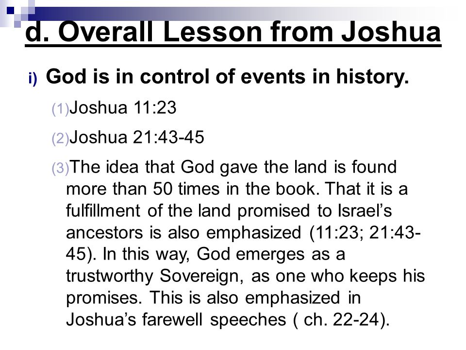 d. Overall Lesson from Joshua