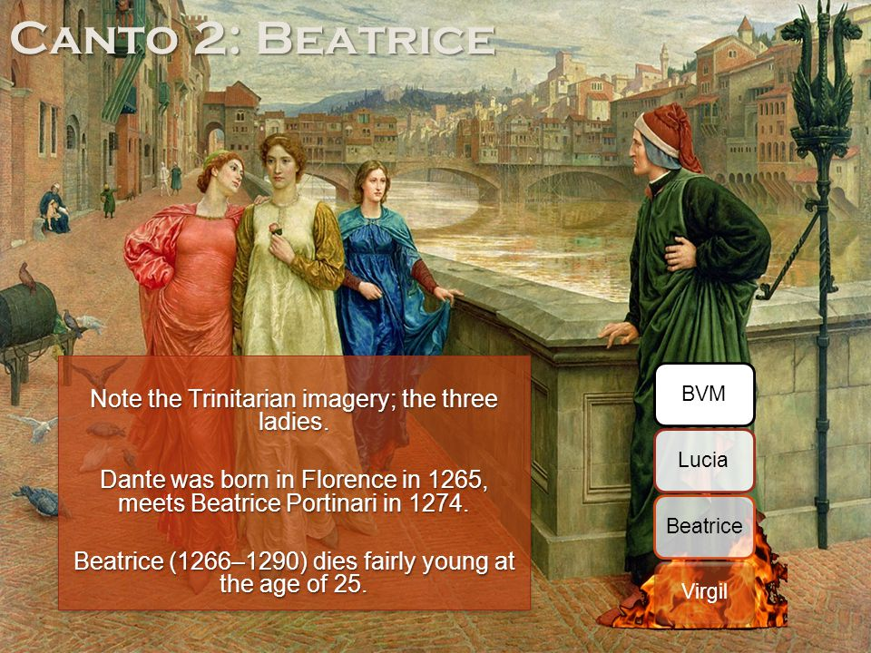 Canto 2: Beatrice Note the Trinitarian imagery; the three ladies.