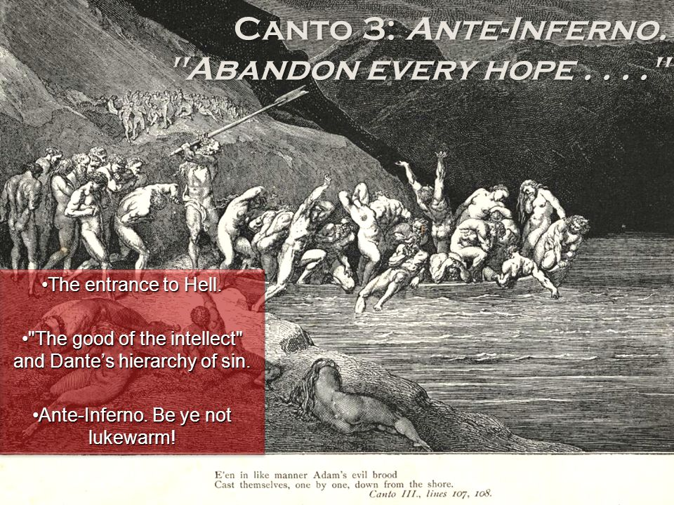 Canto 3: Ante-Inferno. Abandon every hope . . . .