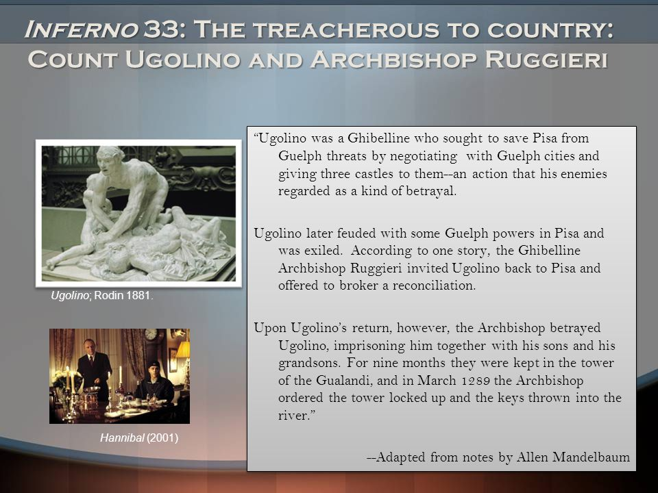 Inferno 33: The treacherous to country: Count Ugolino and Archbishop Ruggieri