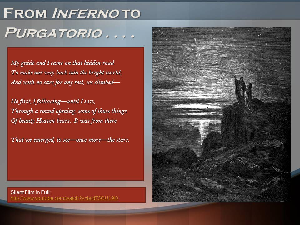 From Inferno to Purgatorio . . . .