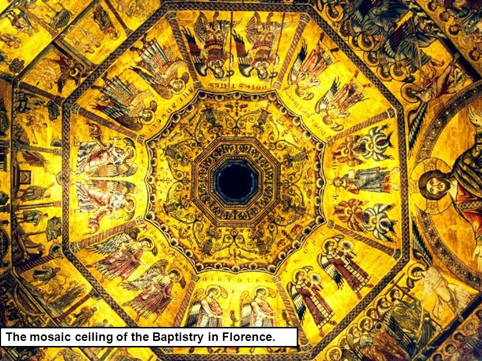 The mosaic ceiling of the Baptistry in Florence.