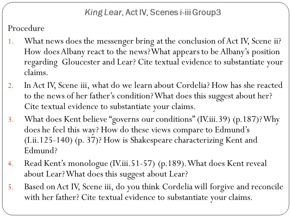 King Lear, Act IV, Scenes i-iii Group3