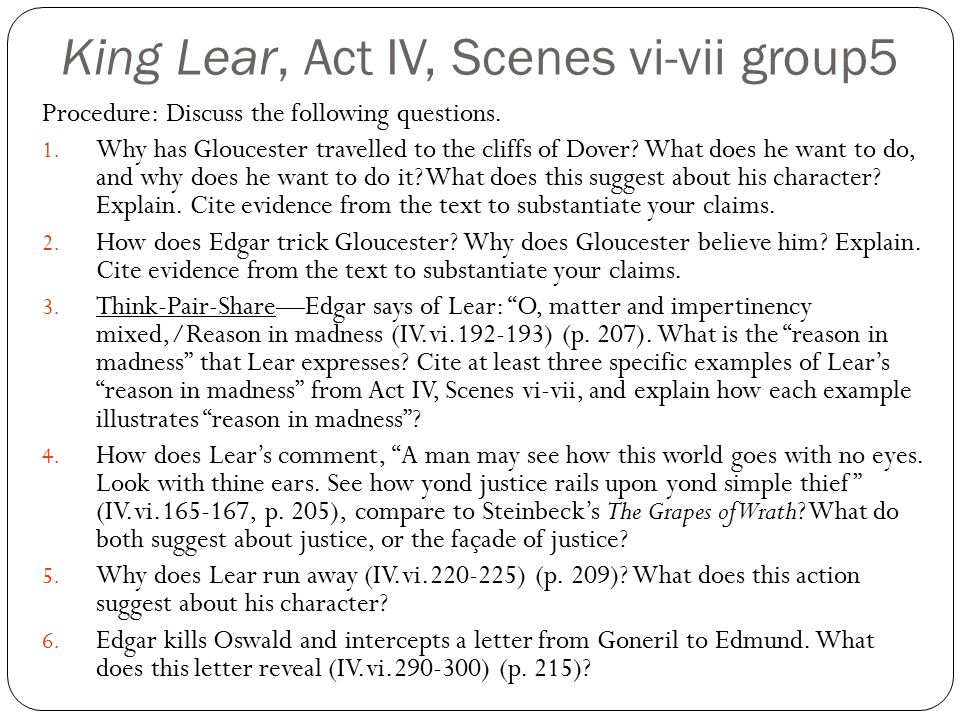 King Lear, Act IV, Scenes vi-vii group5