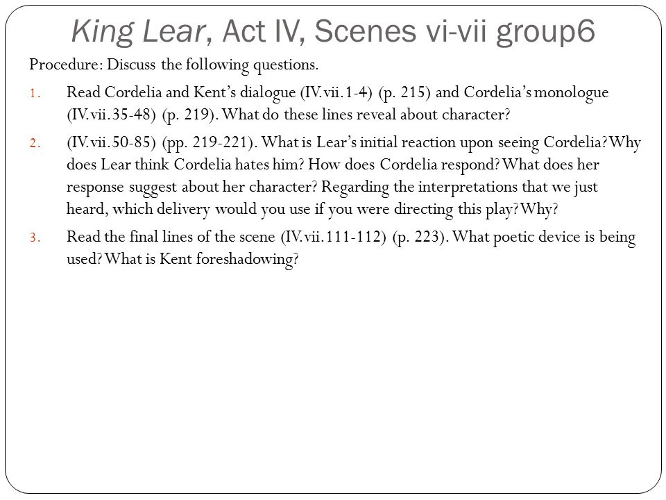 King Lear, Act IV, Scenes vi-vii group6