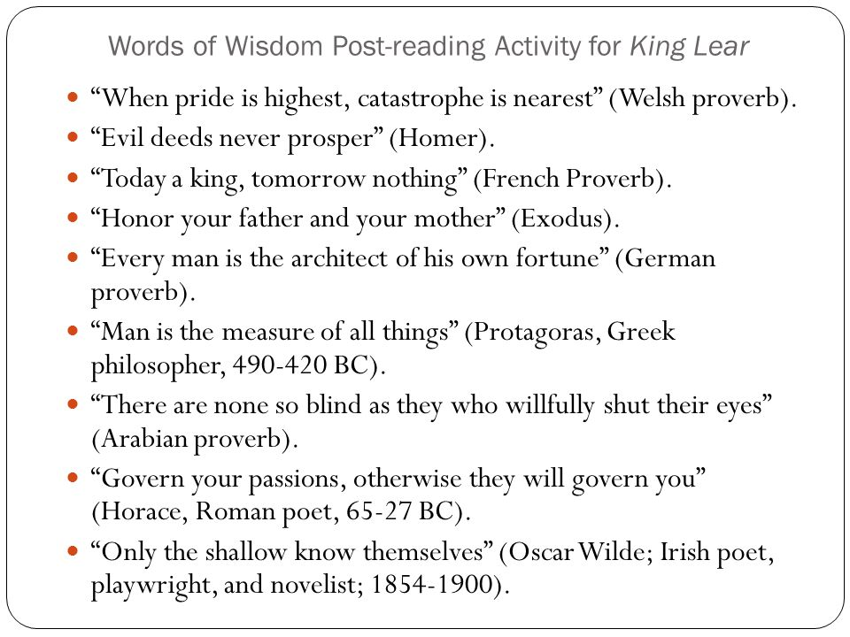 Words of Wisdom Post-reading Activity for King Lear