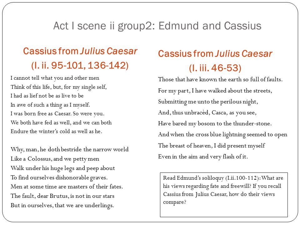 Act I scene ii group2: Edmund and Cassius