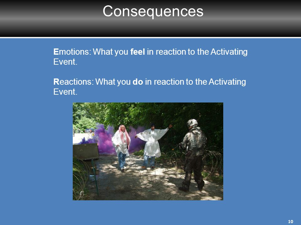 Consequences Emotions: What you feel in reaction to the Activating Event. Reactions: What you do in reaction to the Activating Event.