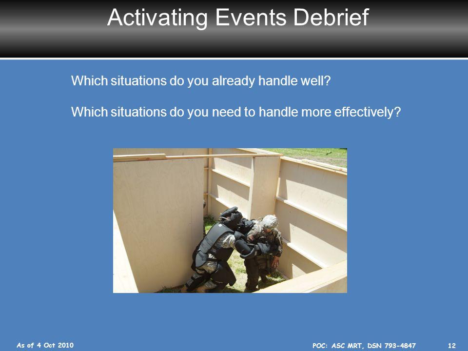 Activating Events Debrief