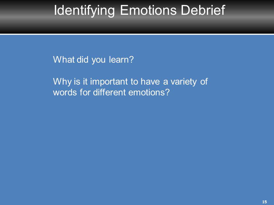 Identifying Emotions Debrief