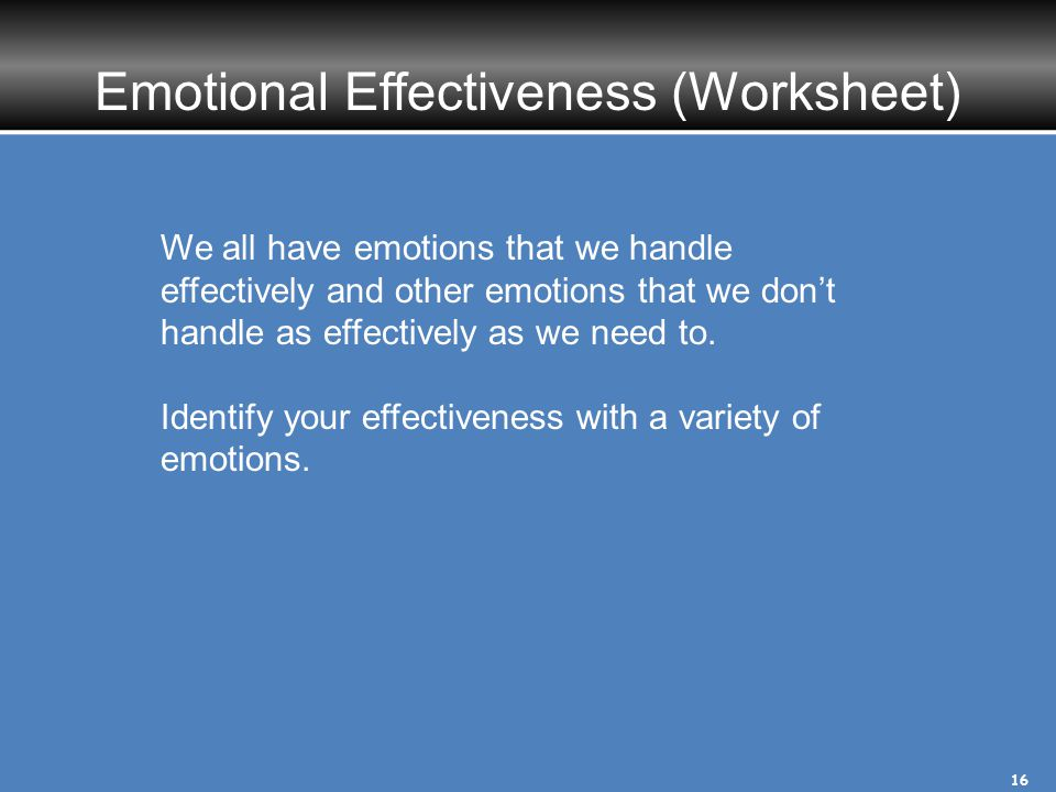 Emotional Effectiveness (Worksheet)
