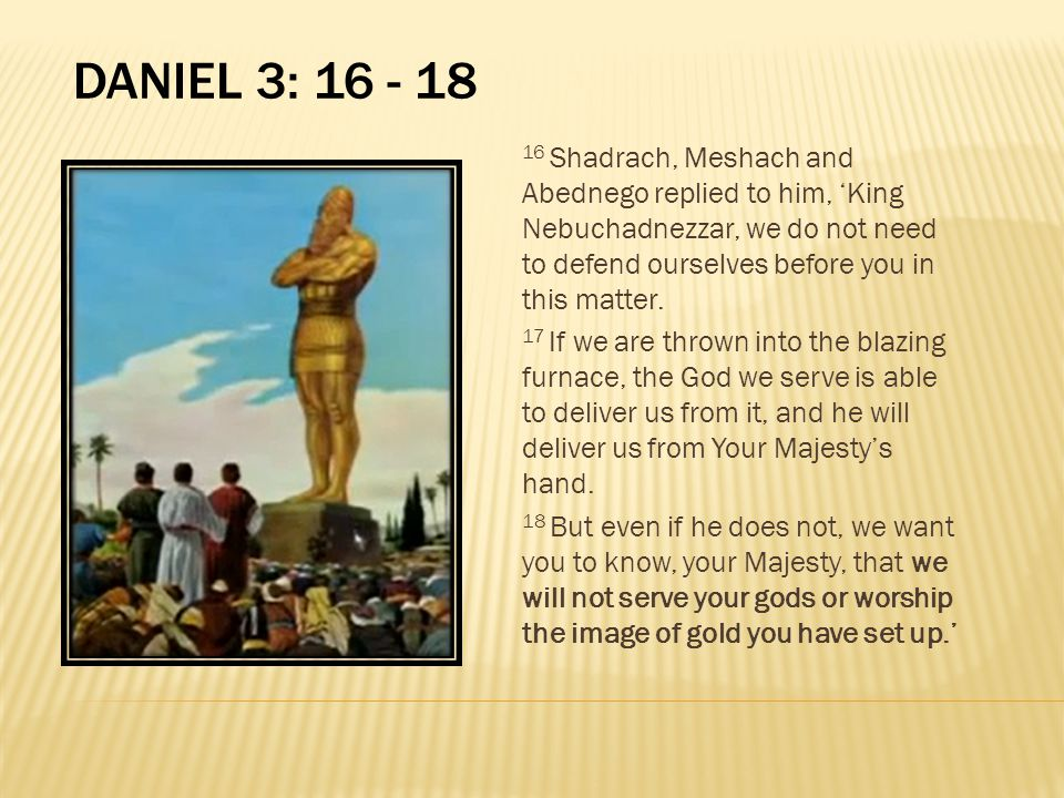 Daniel 3: 16 - 18