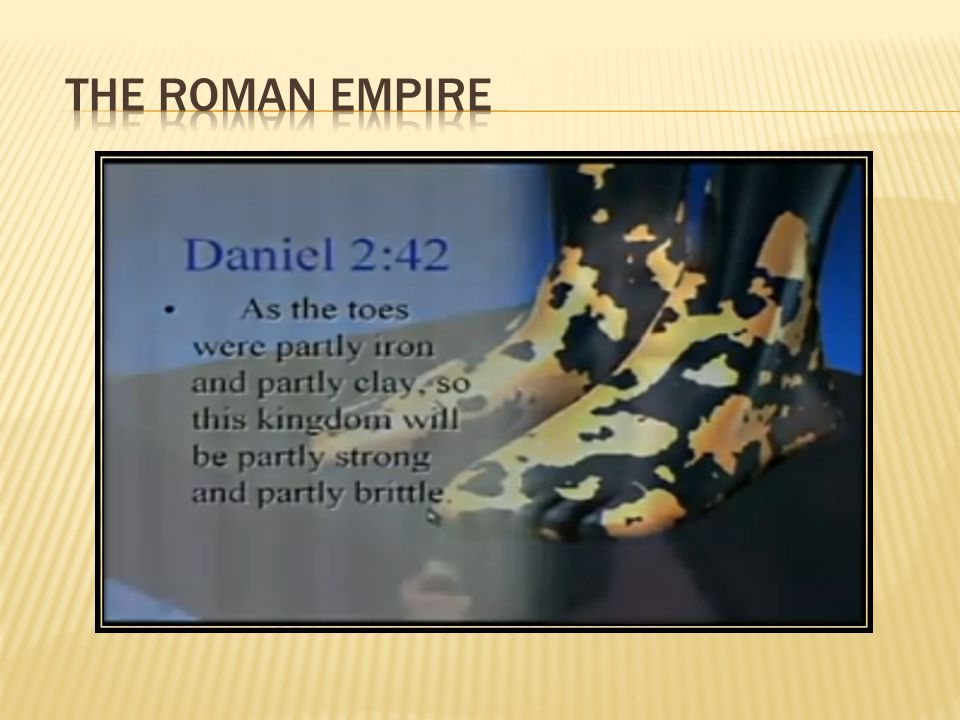 THE Roman Empire One Leg of Iron mixed with clay is based on the western part of the former Roman Empire.