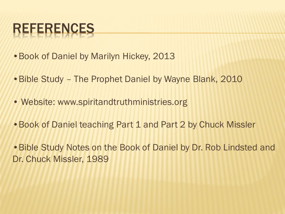 References Book of Daniel by Marilyn Hickey, 2013