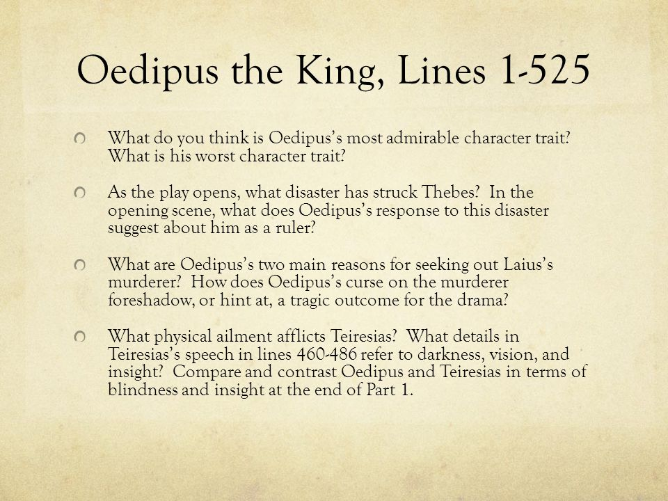 Oedipus the King, Lines 1-525