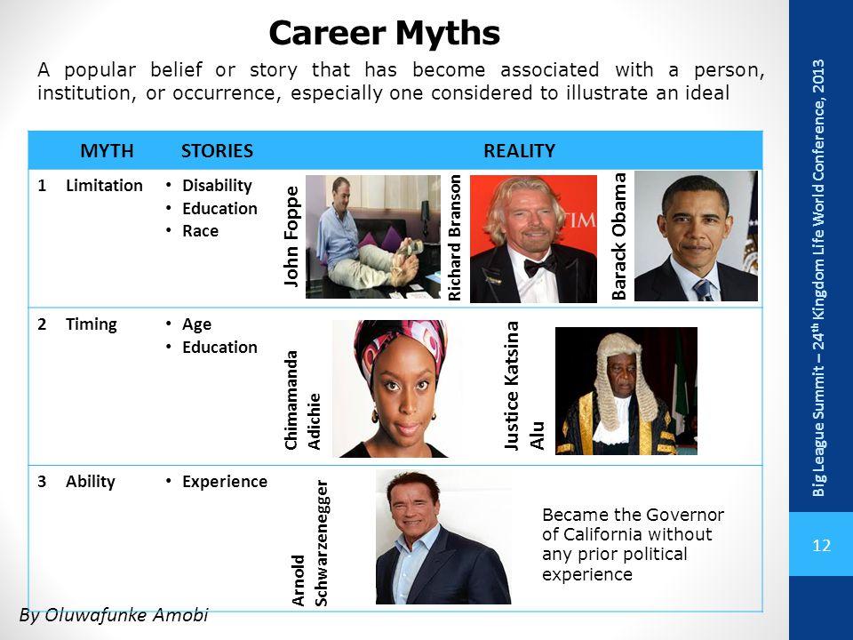Career Myths MYTH STORIES REALITY Barack Obama John Foppe