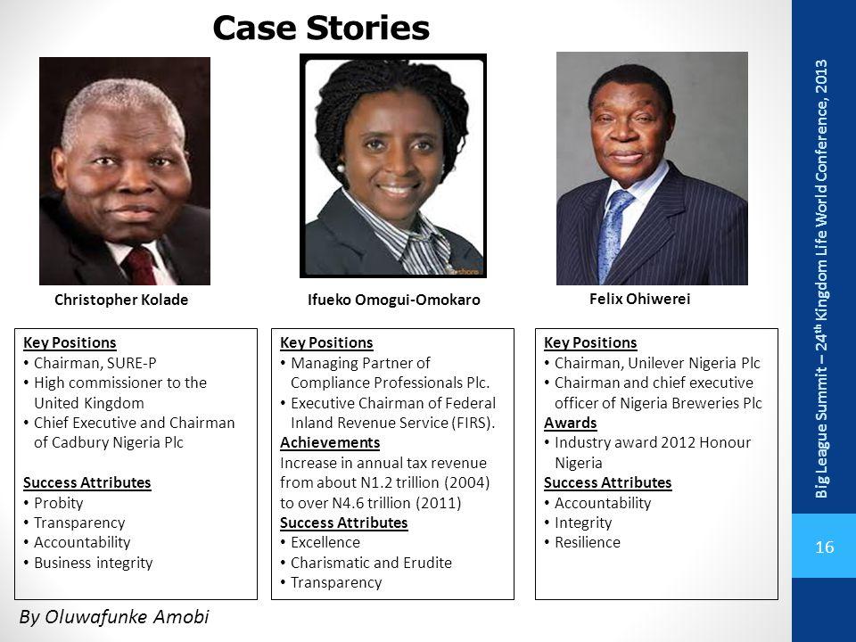 Case Stories Big League Summit – 24th Kingdom Life World Conference, 2013. Christopher Kolade. Ifueko Omogui-Omokaro.