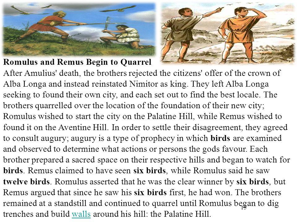 Romulus and Remus Begin to Quarrel