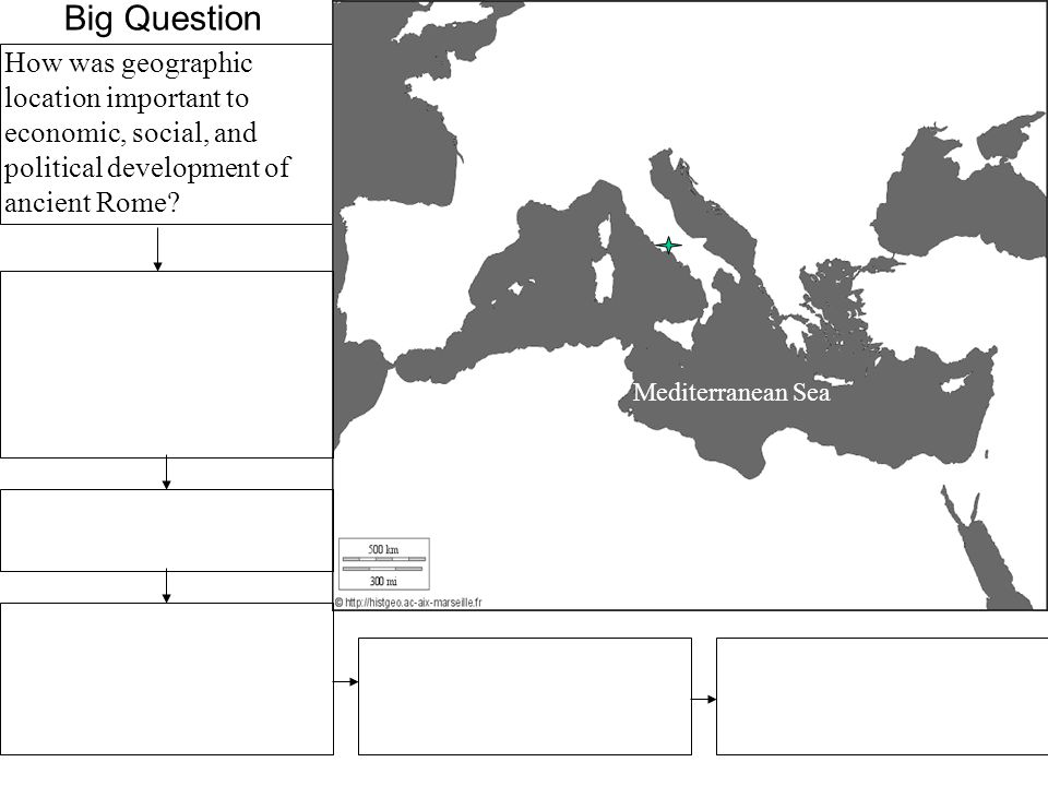 Big Question How was geographic location important to economic, social, and political development of ancient Rome