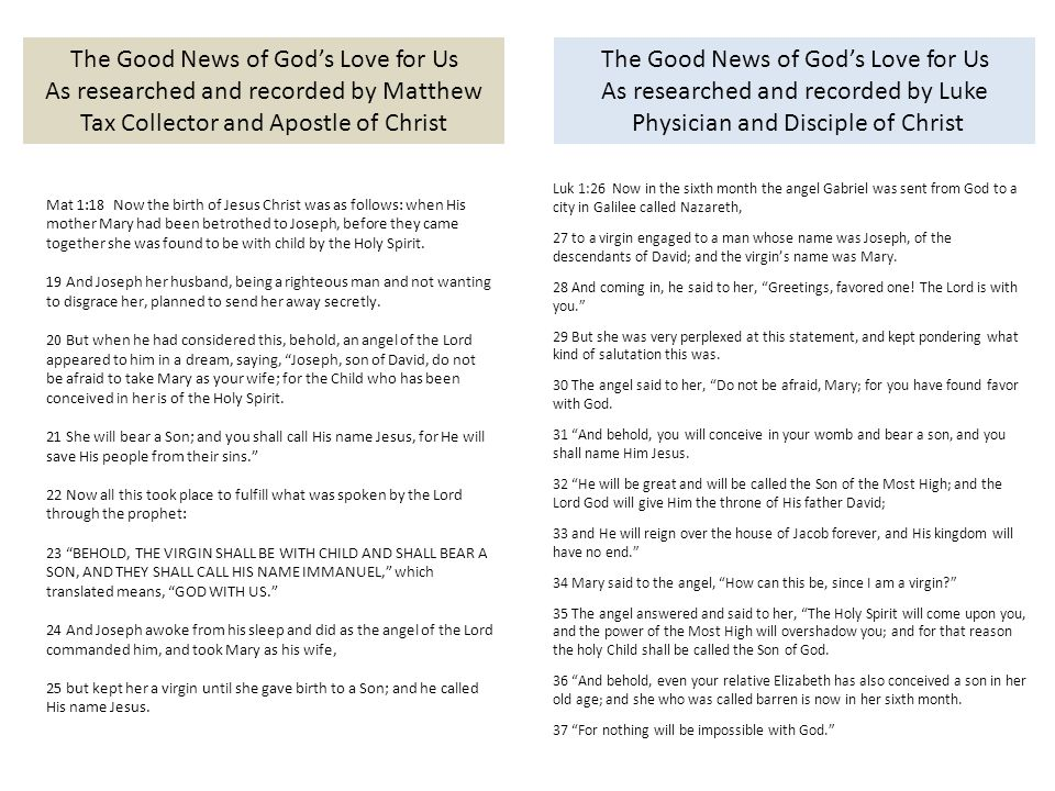 The Good News of God's Love for Us